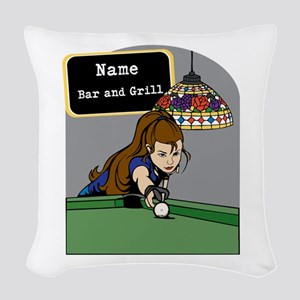 Personalized Womens Billiards Woven Throw Pillow