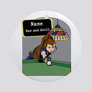 Personalized Womens Billiards Ornament (Round)
