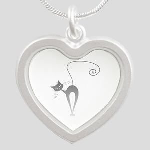 Stella Cat 9 Silver Heart Necklace