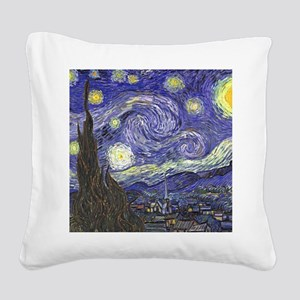Starry Night by Vincent van G Square Canvas Pillow