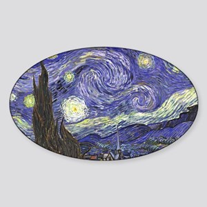 Starry Night by Vincent van Gogh Sticker (Oval)