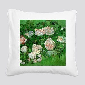 Pink Roses by Vincent van Gog Square Canvas Pillow