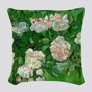 Pink Roses by Vincent van Gogh Woven Throw Pillow