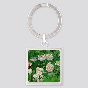 Pink Roses by Vincent van Gogh Square Keychain