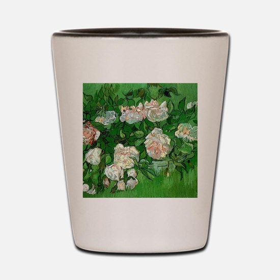 Pink Roses by Vincent van Gogh Shot Glass