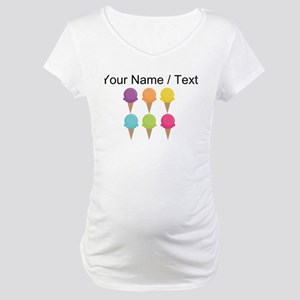 Custom Colorful Waffle Cones Maternity T-Shirt