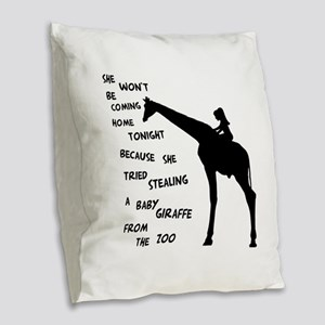 Giraffenapping Burlap Throw Pillow