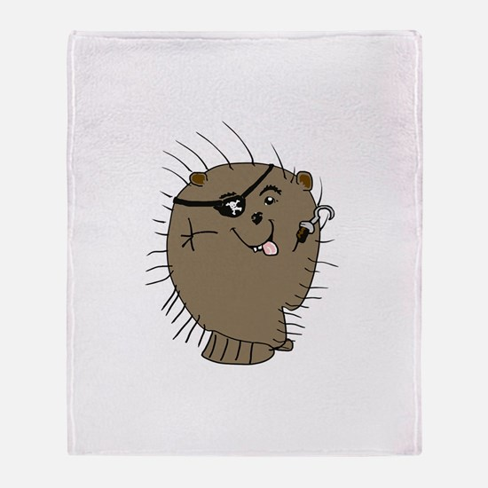Porcupine pirate Throw Blanket