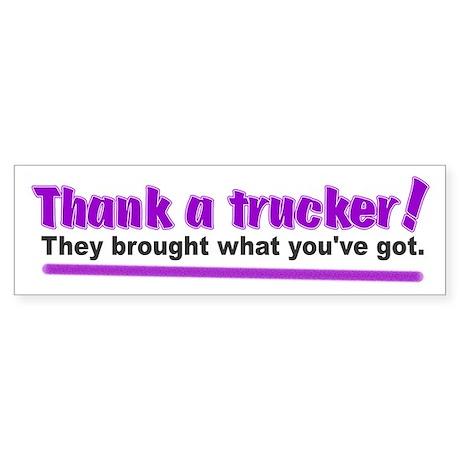 Thank a trucker Sticker (Bumper)