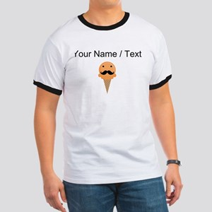 Custom Orange Waffle Cone Mustache Face T-Shirt