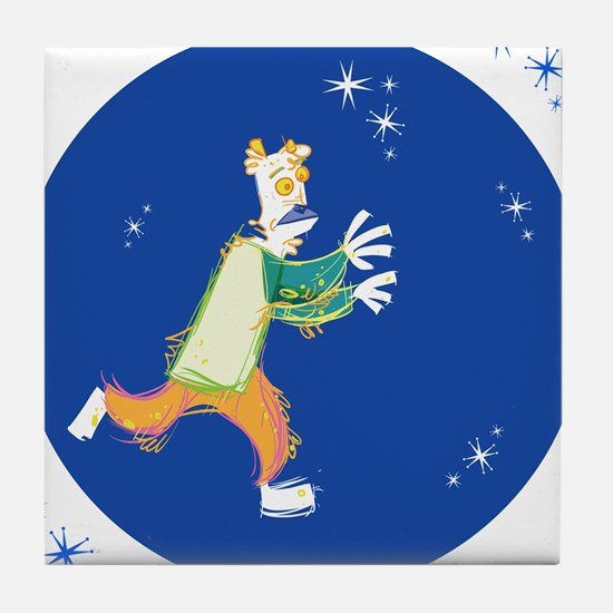 Clowny Mime Bear [blue 3] Tile Coaster
