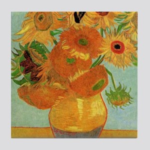 Vase with 12 Sunflowers by Vincent va Tile Coaster
