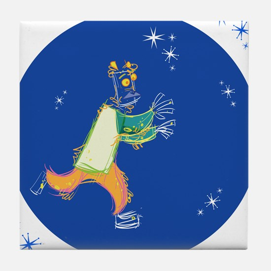 Clowny Mime Bear [blue 1] Tile Coaster