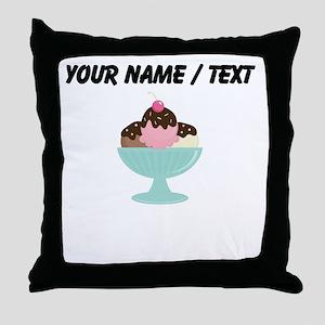 Custom Ice Cream Sundae Throw Pillow