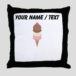 Custom Three Scoop Ice Cream Cone Throw Pillow