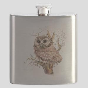 Cute Baby Saw Whet Owl Watercolor Bird Flask