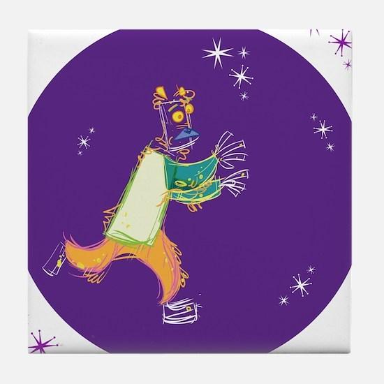 Clowny Mime Bear [purple] Tile Coaster