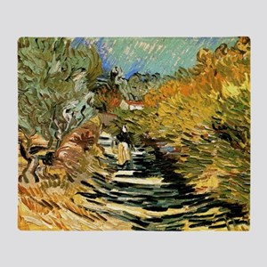 A Road at Saint-Remy by Vincent van Throw Blanket
