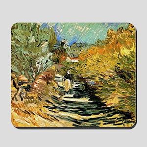 A Road at Saint-Remy by Vincent van Gogh Mousepad
