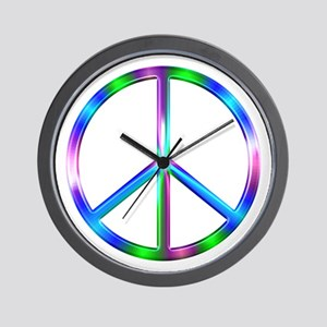 Shiny Colorful Peace Sign Wall Clock