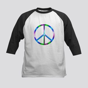 Shiny Colorful Peace Sign Kids Baseball Tee