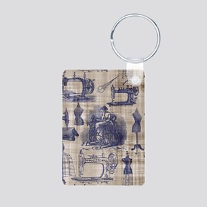 Vintage Sewing Toile Aluminum Photo Keychain