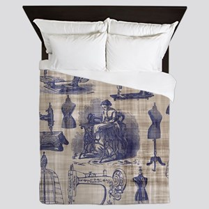 Vintage Sewing Toile Queen Duvet