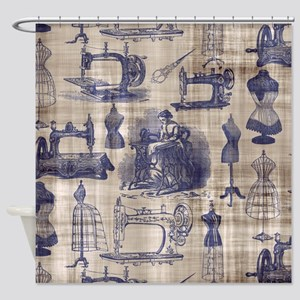 Vintage Sewing Toile Shower Curtain
