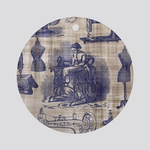 Vintage Sewing Toile Ornament (Round)