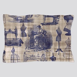 Vintage Sewing Toile Pillow Case