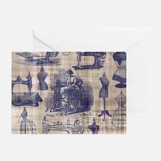 Vintage Sewing Toile Greeting Card