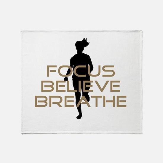 Tan Focus Believe Breathe Throw Blanket