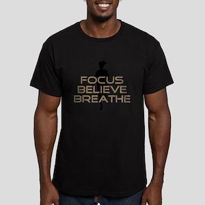 Tan Focus Believe Breathe Men's Fitted T-Shirt (da