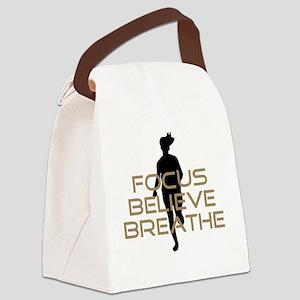 Tan Focus Believe Breathe Canvas Lunch Bag