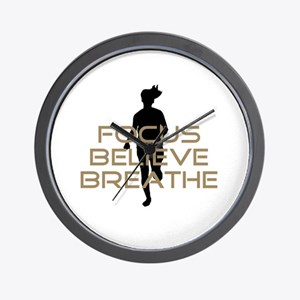 Tan Focus Believe Breathe Wall Clock