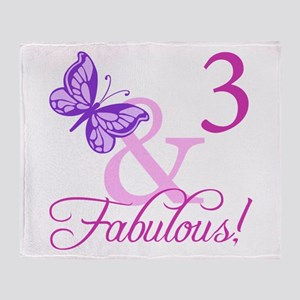 Fabulous 3rd Birthday For Girls Throw Blanket