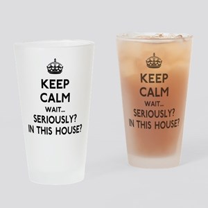 Keep Calm In This House Drinking Glass