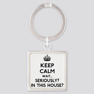 Keep Calm In This House Square Keychain