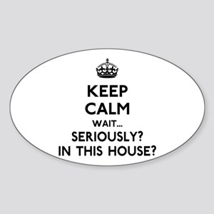 Keep Calm In This House Sticker (Oval)