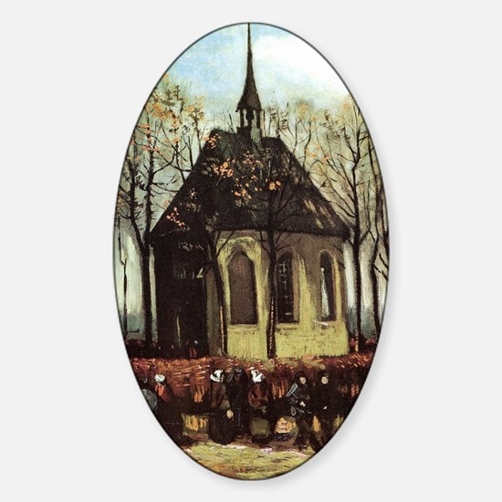 Van Gogh Church in Nuenen Sticker (Oval)