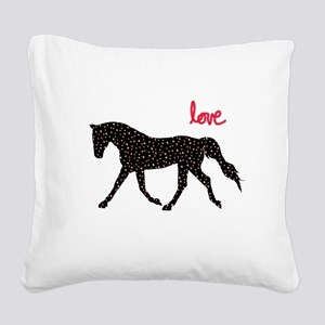Horse with Hearts Square Canvas Pillow