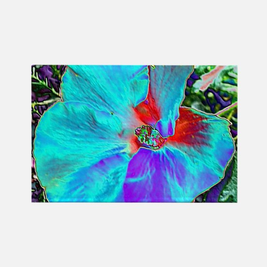 Native Hibiscus flower in bloom Rectangle Magnet