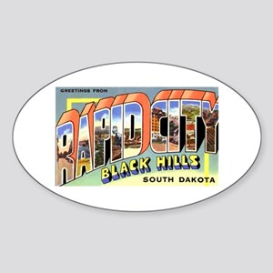 Rapid City South Dakota Greetings Oval Sticker