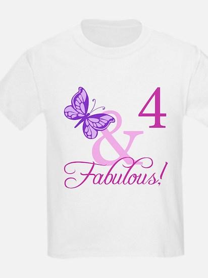 Fabulous 4th Birthday For Girls T-Shirt