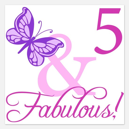 Fabulous 5th Birthday For Girls 5.25 x 5.25 Flat C