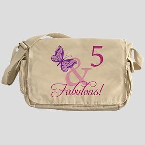 Fabulous 5th Birthday For Girls Messenger Bag