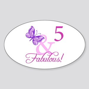 Fabulous 5th Birthday For Girls Sticker (Oval)