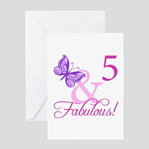Fabulous 5th Birthday For Girls Greeting Card