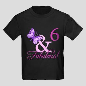 Fabulous 6th Birthday For Girls Kids Dark T-Shirt