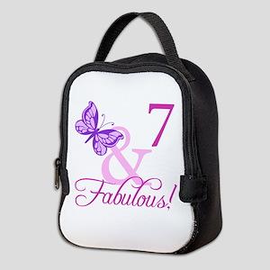 Fabulous 7th Birthday For Girls Neoprene Lunch Bag